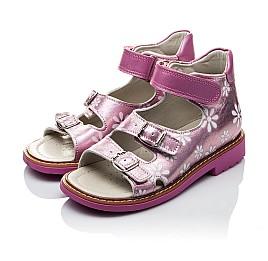 Детские ортопедические босоножки Woopy Orthopedic розовые для девочек натуральная кожа размер - (2092) Фото 4