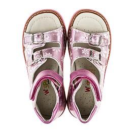Детские ортопедические босоножки Woopy Orthopedic розовые для девочек натуральная кожа размер - (2092) Фото 5