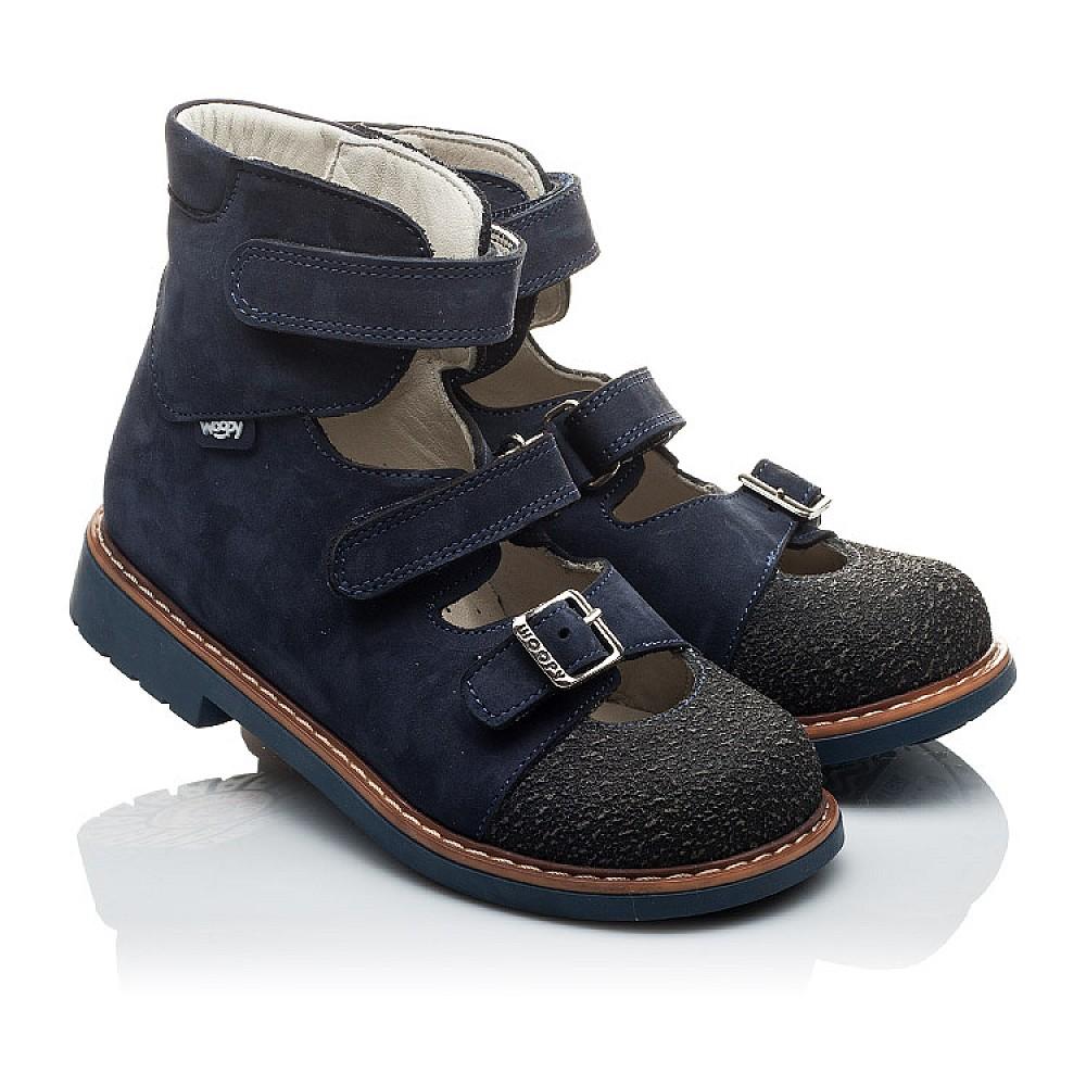 Детские ортопедические туфли (с высоким берцем) Woopy Orthopedic темно-синие для мальчиков натуральная кожа размер 20-33 (2094) Фото 1