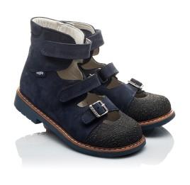 Детские ортопедичні туфлі (з високим берцем) Woopy Orthopedic темно-синие для мальчиков натуральная кожа размер 20-22 (2094) Фото 1