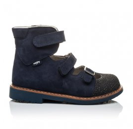 Детские ортопедические туфли (с высоким берцем) Woopy Orthopedic темно-синие для мальчиков натуральная кожа размер 20-22 (2094) Фото 3
