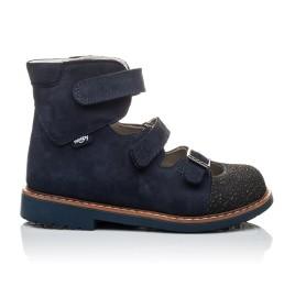 Детские ортопедичні туфлі (з високим берцем) Woopy Orthopedic темно-синие для мальчиков натуральная кожа размер 20-22 (2094) Фото 3