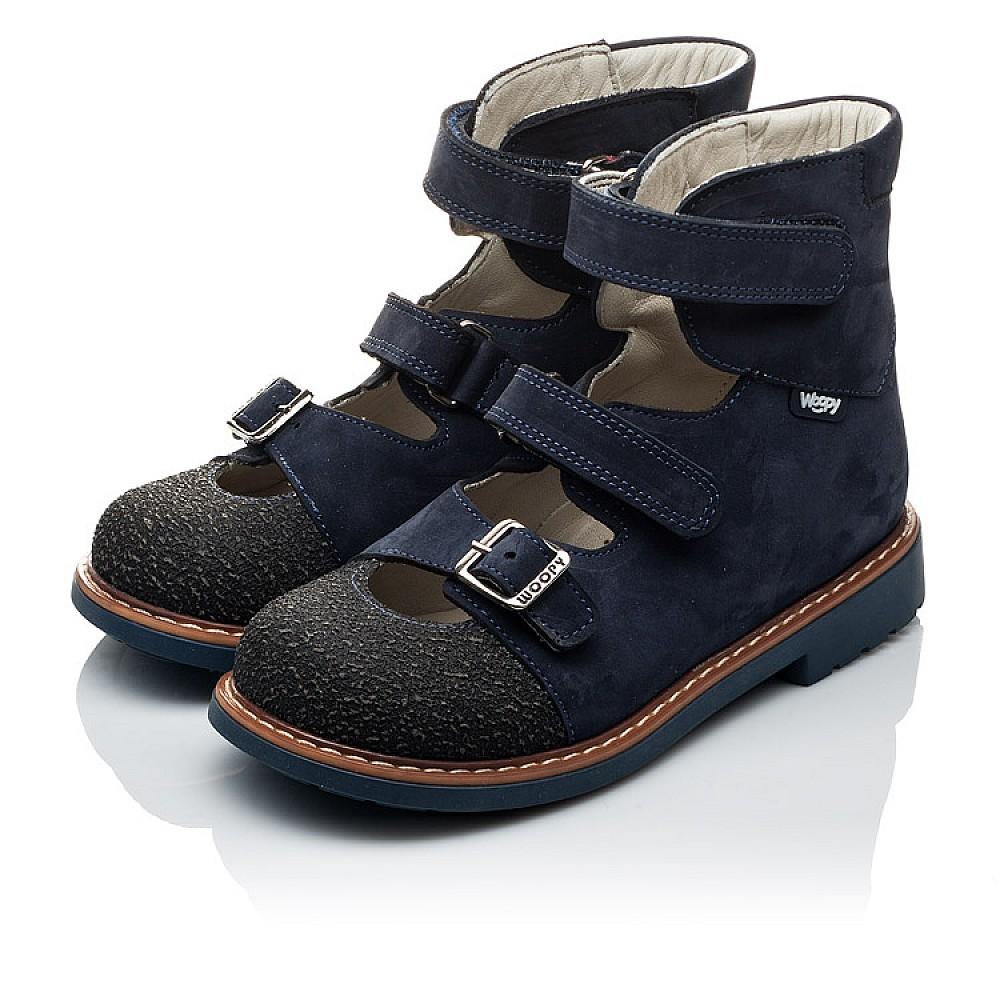 Детские ортопедические туфли (с высоким берцем) Woopy Orthopedic темно-синие для мальчиков натуральная кожа размер 20-33 (2094) Фото 4
