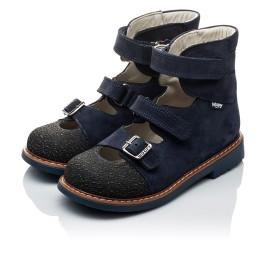 Детские ортопедичні туфлі (з високим берцем) Woopy Orthopedic темно-синие для мальчиков натуральная кожа размер 20-22 (2094) Фото 4