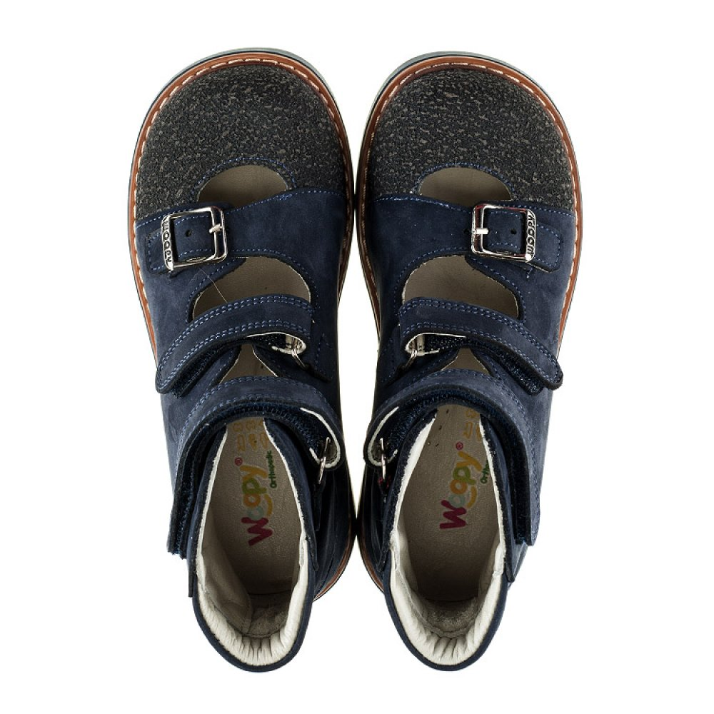Детские ортопедические туфли (с высоким берцем) Woopy Orthopedic темно-синие для мальчиков натуральная кожа размер 20-33 (2094) Фото 5