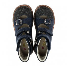 Детские ортопедические туфли (с высоким берцем) Woopy Orthopedic темно-синие для мальчиков натуральная кожа размер 20-22 (2094) Фото 5