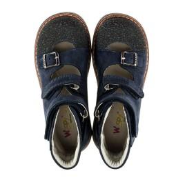 Детские ортопедичні туфлі (з високим берцем) Woopy Orthopedic темно-синие для мальчиков натуральная кожа размер 20-22 (2094) Фото 5