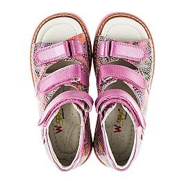 Детские ортопедические босоножки Woopy Orthopedic разноцветные, розовые для девочек натуральная кожа размер - (2096) Фото 5