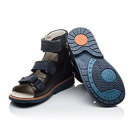 Детские ортопедические босоножки (с высоким берцем) Woopy Orthopedic синие для мальчиков натуральная кожа размер 21-21 (2097) Фото 2