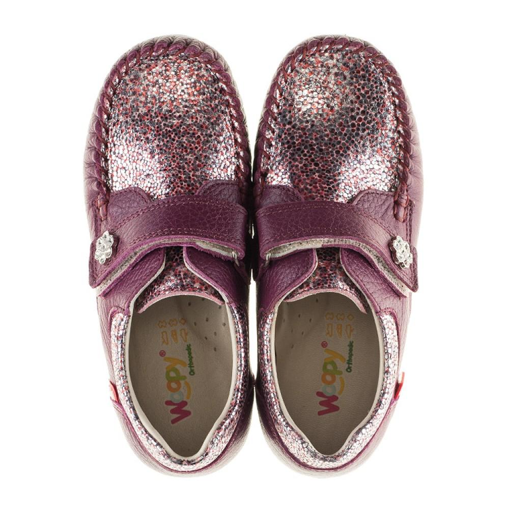 Детские мокасины Woopy Orthopedic фиолетовые для девочек натуральная кожа размер 23-30 (2098) Фото 5