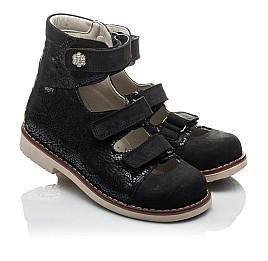 Детские ортопедические туфли (с высоким берцем) Woopy Orthopedic черные для девочек натуральная кожа размер - (2099) Фото 1
