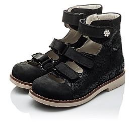 Детские ортопедические туфли (с высоким берцем) Woopy Orthopedic черные для девочек натуральная кожа размер - (2099) Фото 4