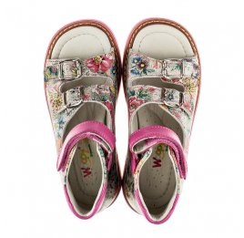 Детские босоножки ортопедические Woopy Orthopedic разноцветные, розовые для девочек натуральная кожа размер - (2107) Фото 5