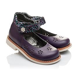 Детские туфли ортопедические Woopy Orthopedic фиолетовые для девочек натуральная кожа размер 21-21 (2109) Фото 1