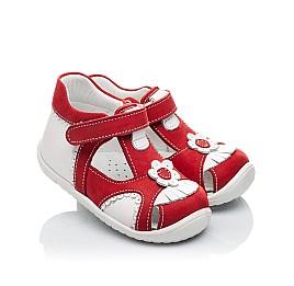 Детские закрытые ортопедические босоножки Woopy Orthopedic красные для девочек натуральная кожа / натуральный нубук размер - (2128) Фото 1