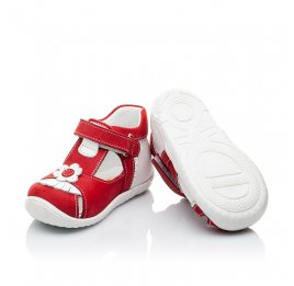 Детские закрытые ортопедические босоножки Woopy Orthopedic красные для девочек натуральная кожа / натуральный нубук размер - (2128) Фото 2