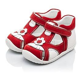 Детские закрытые ортопедические босоножки Woopy Orthopedic красные для девочек натуральная кожа / натуральный нубук размер - (2128) Фото 3