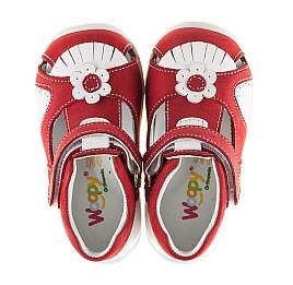 Детские закрытые ортопедические босоножки Woopy Orthopedic красные для девочек натуральная кожа / натуральный нубук размер - (2128) Фото 5