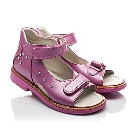 Детские ортопедические босоножки Woopy Orthopedic розовые для девочек натуральная кожа размер - (2129) Фото 1