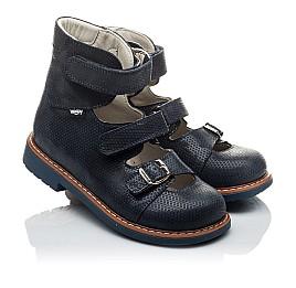 Детские ортопедические туфли (с высоким берцем) Woopy Orthopedic темно-синие для девочек натуральная кожа размер - (2133) Фото 1