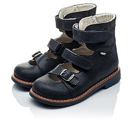 Детские ортопедические туфли (с высоким берцем) Woopy Orthopedic темно-синие для девочек натуральная кожа размер - (2133) Фото 4