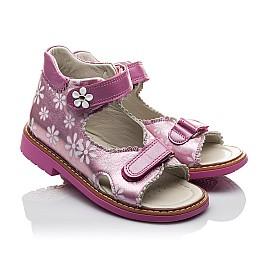 Детские ортопедические босоножки Woopy Orthopedic розовые для девочек натуральная кожа размер - (2140) Фото 1