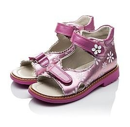 Детские ортопедические босоножки Woopy Orthopedic розовые для девочек натуральная кожа размер - (2140) Фото 4