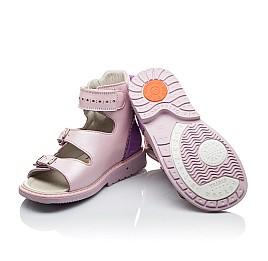 Детские ортопедические босоножки (с высоким берцем) Woopy Orthopedic нежно-розовый для девочек натуральная кожа размер - (2144) Фото 2