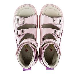 Детские ортопедические босоножки (с высоким берцем) Woopy Orthopedic нежно-розовый для девочек натуральная кожа размер - (2144) Фото 5