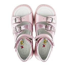 Детские ортопедические босоножки Woopy Orthopedic розовый перламутр для девочек натуральная кожа размер - (2152) Фото 5