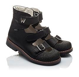 Детские ортопедические туфли (с высоким берцем) Woopy Orthopedic черные для мальчиков натуральный нубук размер - (2164) Фото 1
