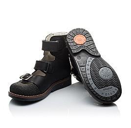 Детские ортопедические туфли (с высоким берцем) Woopy Orthopedic черные для мальчиков натуральный нубук размер - (2164) Фото 2