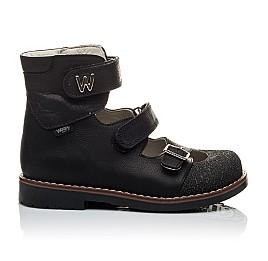Детские ортопедические туфли (с высоким берцем) Woopy Orthopedic черные для мальчиков натуральный нубук размер - (2164) Фото 3