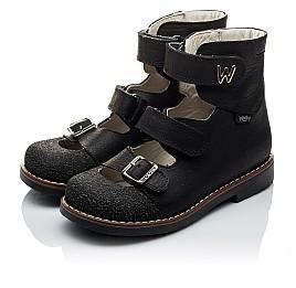 Детские ортопедические туфли (с высоким берцем) Woopy Orthopedic черные для мальчиков натуральный нубук размер - (2164) Фото 4