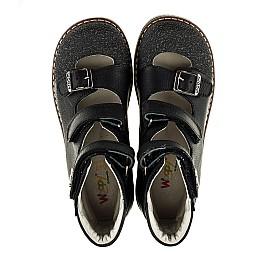 Детские ортопедические туфли (с высоким берцем) Woopy Orthopedic черные для мальчиков натуральный нубук размер - (2164) Фото 5