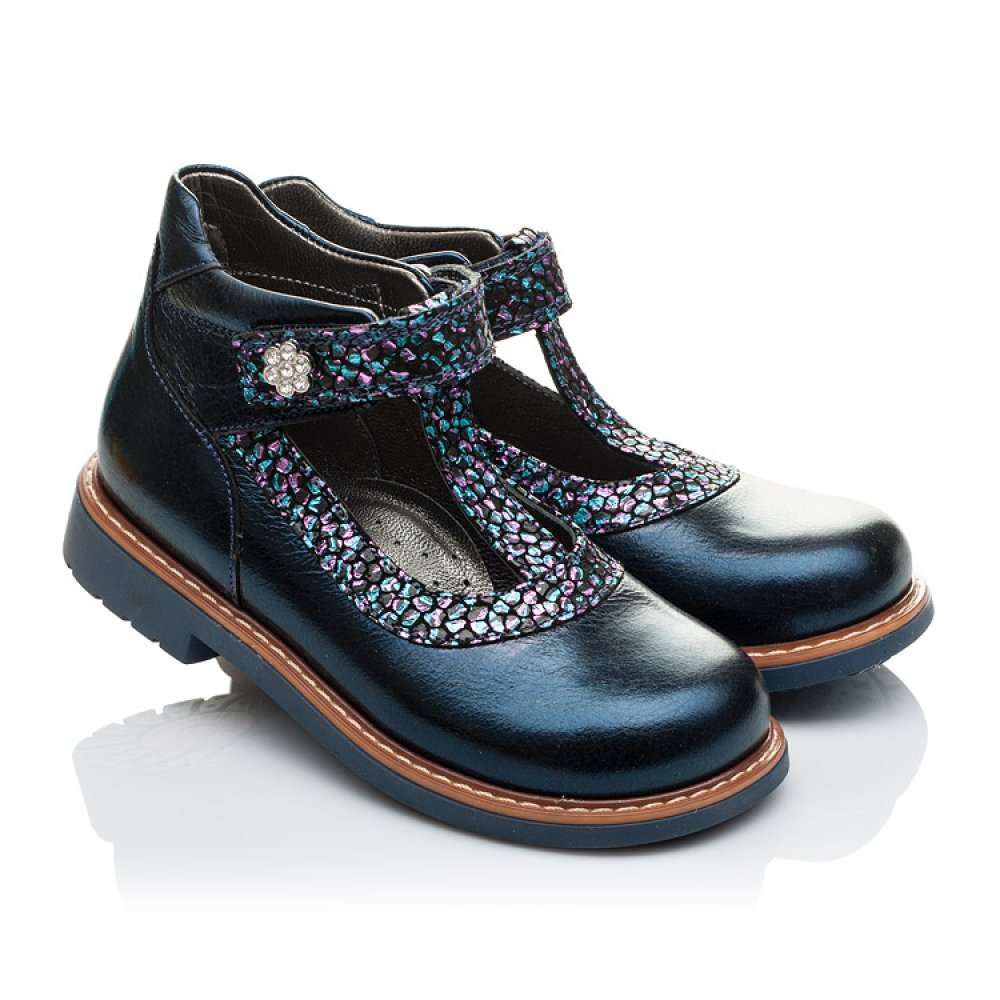 Детские туфли ортопедические Woopy Orthopedic синие для девочек натуральная лаковая кожа размер 26-36 (2171) Фото 1