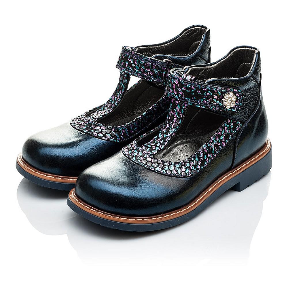 Детские туфли ортопедические Woopy Orthopedic синие для девочек натуральная лаковая кожа размер 26-36 (2171) Фото 3