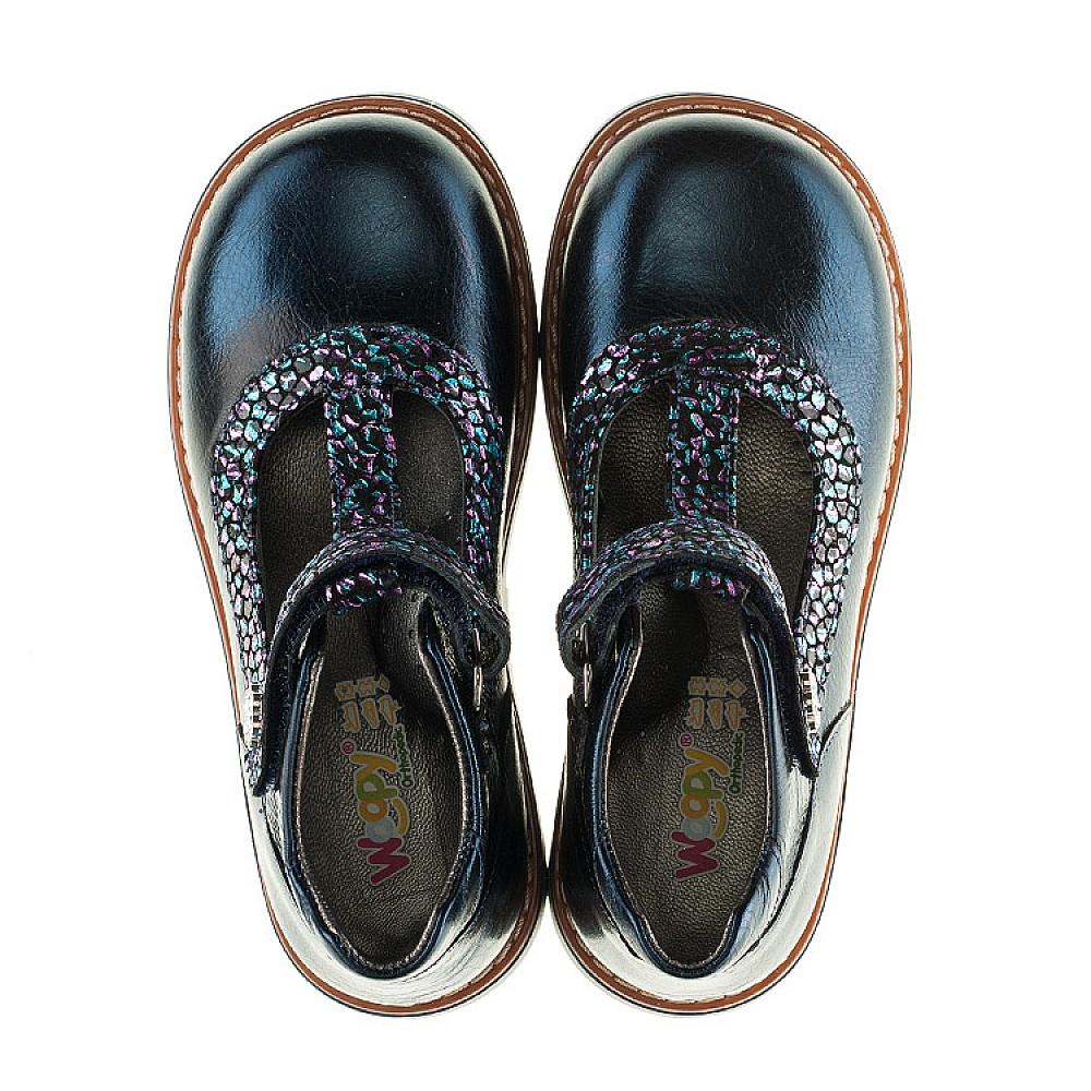 Детские туфли ортопедические Woopy Orthopedic синие для девочек натуральная лаковая кожа размер 26-36 (2171) Фото 5