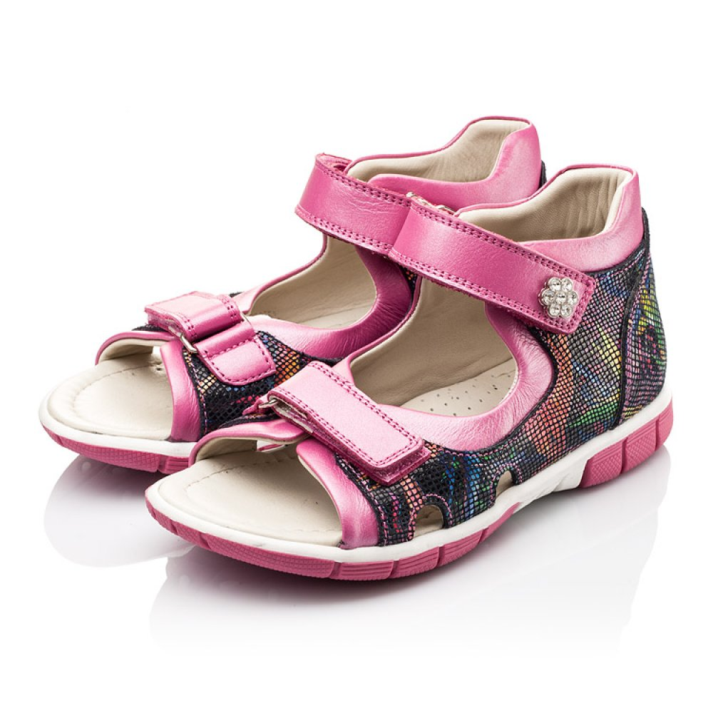 Детские босоножки Woopy Orthopedic разноцветные, розовые для девочек натуральная кожа размер 21-36 (2215) Фото 3