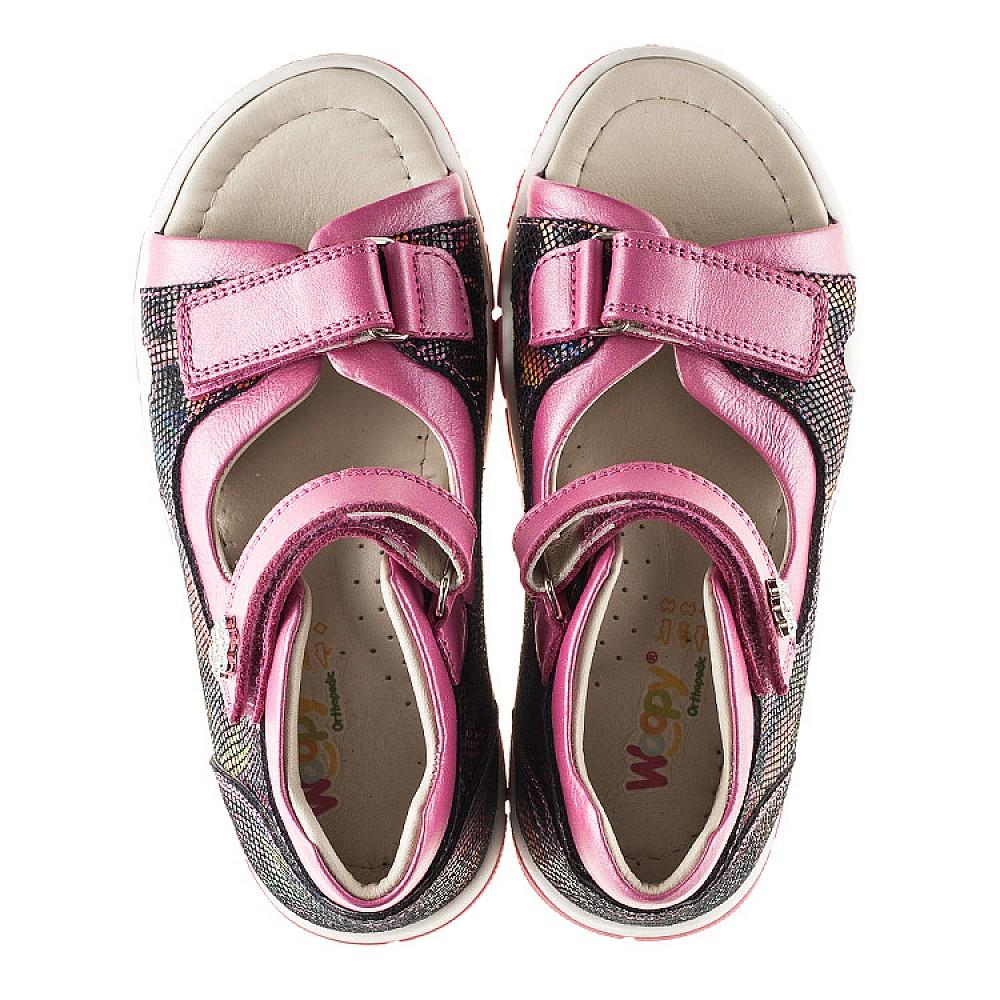 Детские босоножки Woopy Orthopedic разноцветные, розовые для девочек натуральная кожа размер 21-36 (2215) Фото 5