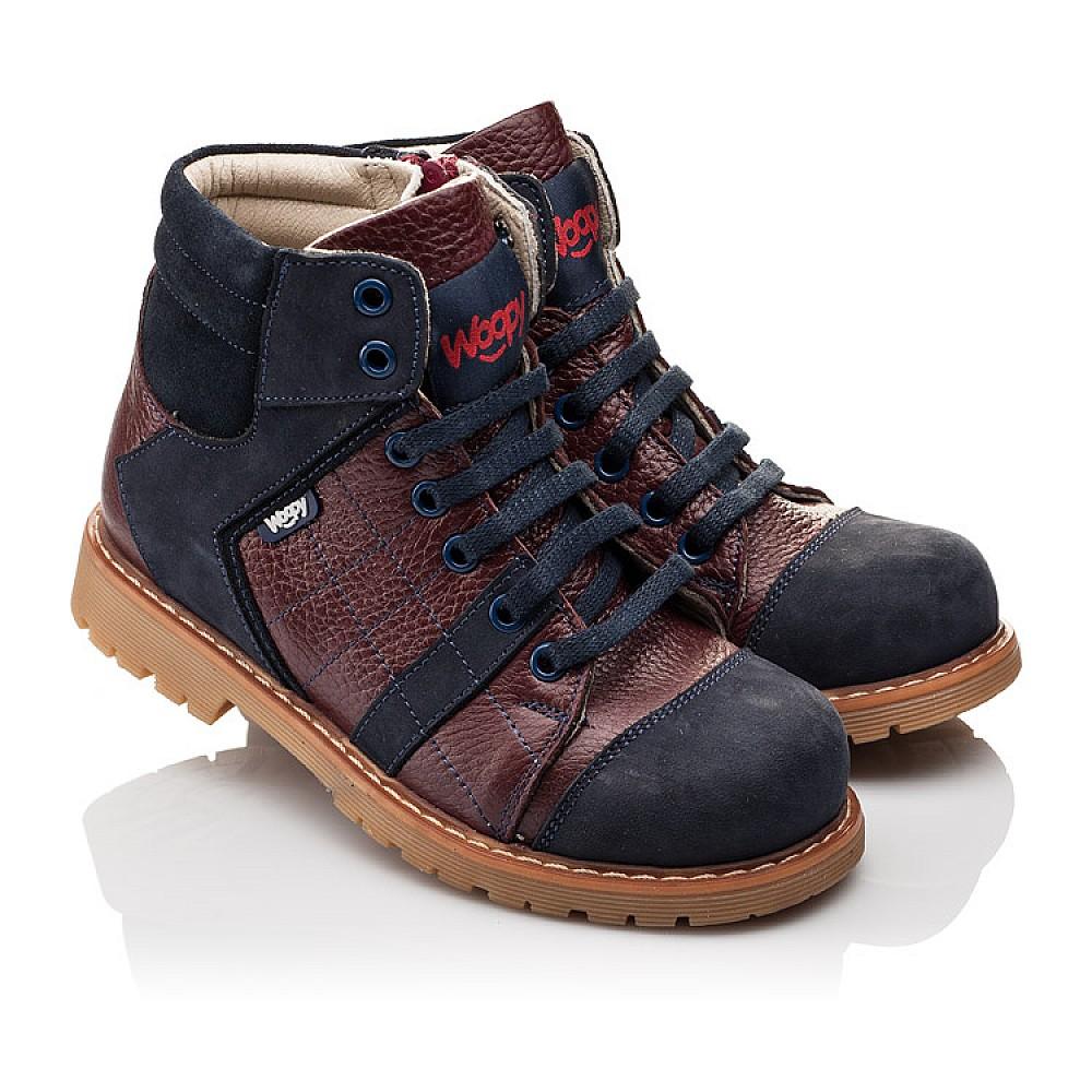 Детские демисезонные ботинки (подкладка кожа) Woopy Orthopedic синие для мальчиков натуральный нубук размер 24-36 (2244) Фото 1