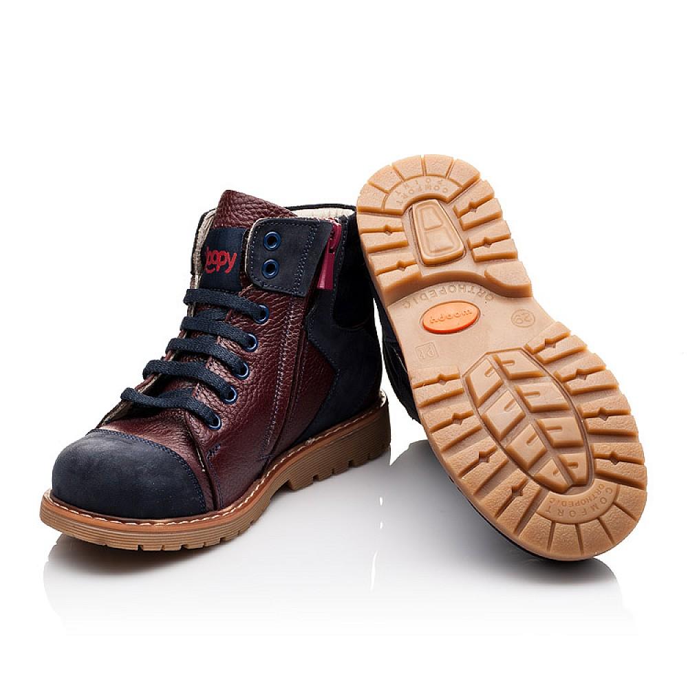 Детские демисезонные ботинки (подкладка кожа) Woopy Orthopedic синие для мальчиков натуральный нубук размер 24-36 (2244) Фото 2