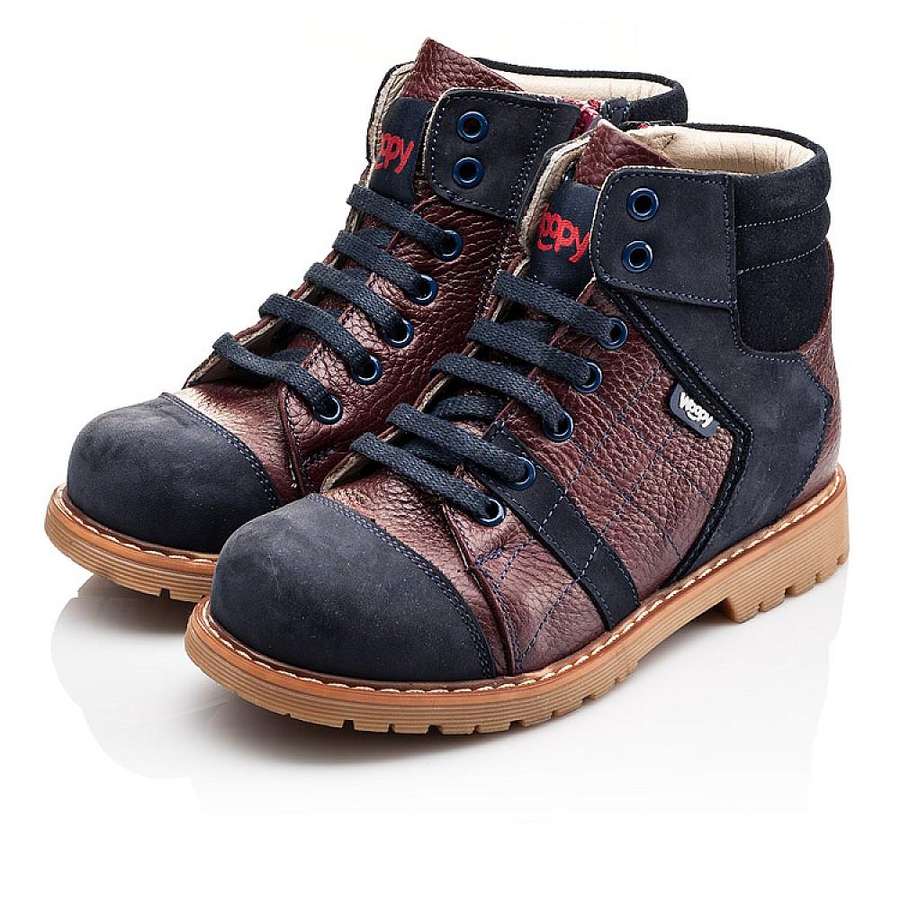 Детские демисезонные ботинки (подкладка кожа) Woopy Orthopedic синие для мальчиков натуральный нубук размер 24-36 (2244) Фото 3