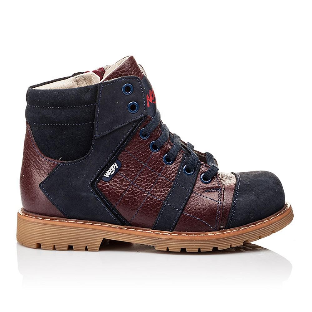 Детские демисезонные ботинки (подкладка кожа) Woopy Orthopedic синие для мальчиков натуральный нубук размер 24-36 (2244) Фото 4