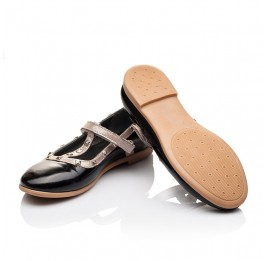 Детские туфлі Woopy Orthopedic черные для девочек натуральная лаковая кожа размер 26-26 (2256) Фото 2
