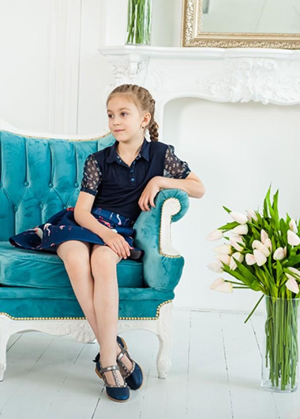 Девочка обута в детские туфли Woopy Orthopedic синие (2263) Фото 1