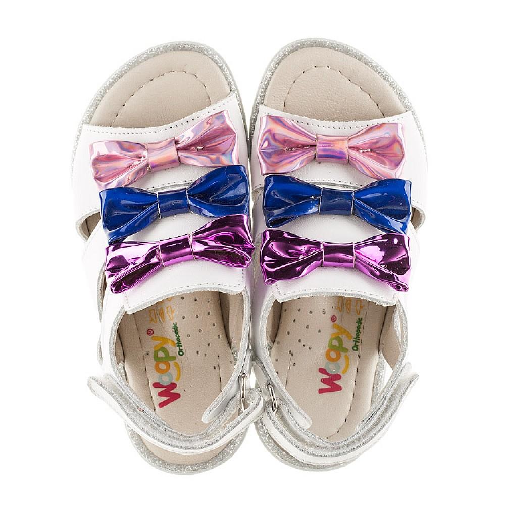 Детские босоножки Woopy Orthopedic белые,разноцветные для девочек натуральная кожа размер 21-33 (2291) Фото 5