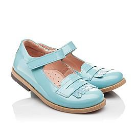Детские туфли Bebbini бирюзовые для девочек натуральная лаковая кожа размер 24-26 (2299) Фото 1