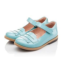 Детские туфли Bebbini бирюзовые для девочек натуральная лаковая кожа размер 24-26 (2299) Фото 3