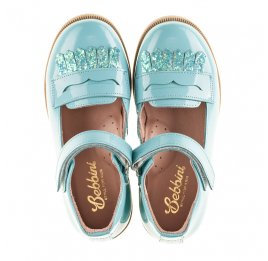 Детские туфли Bebbini бирюзовые для девочек натуральная лаковая кожа размер 24-26 (2299) Фото 5